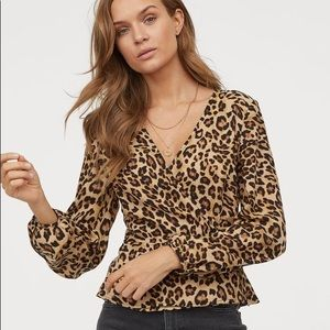 NWOT Leopard wrap over blouse by H&M